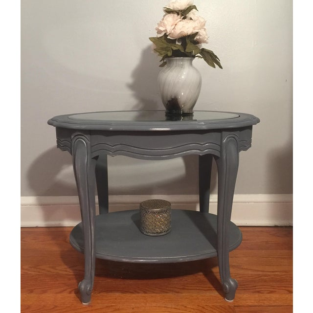Painted Glass Top Side Table - Image 7 of 7