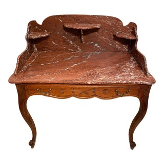 French Marble-Top Washstand Dry Sink With Marble Surround and Shelves For Sale