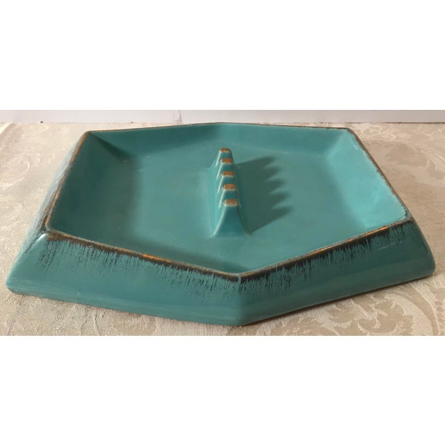Beautiful mid century modern geometric designed ceramic table ashtray with turquoise and gold accents. Rossini Pegasus...