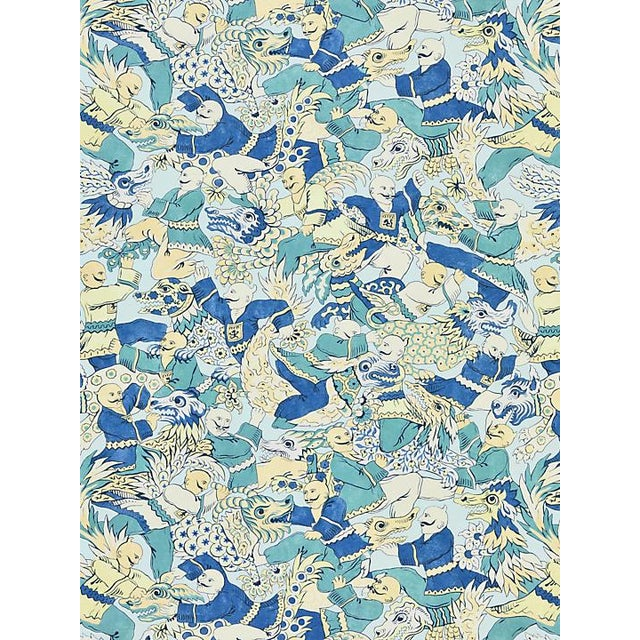 Chinoiserie Scalamandre Dragon Dance, Summer Sage Fabric For Sale - Image 3 of 3