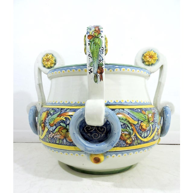 Colourful Italian/Sicilian hand-painted jardiniere or planter from the famous Caltagirone region (Sicily). This area of...