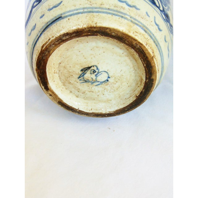 Blue & White Phoenix Storage Jar For Sale - Image 6 of 7