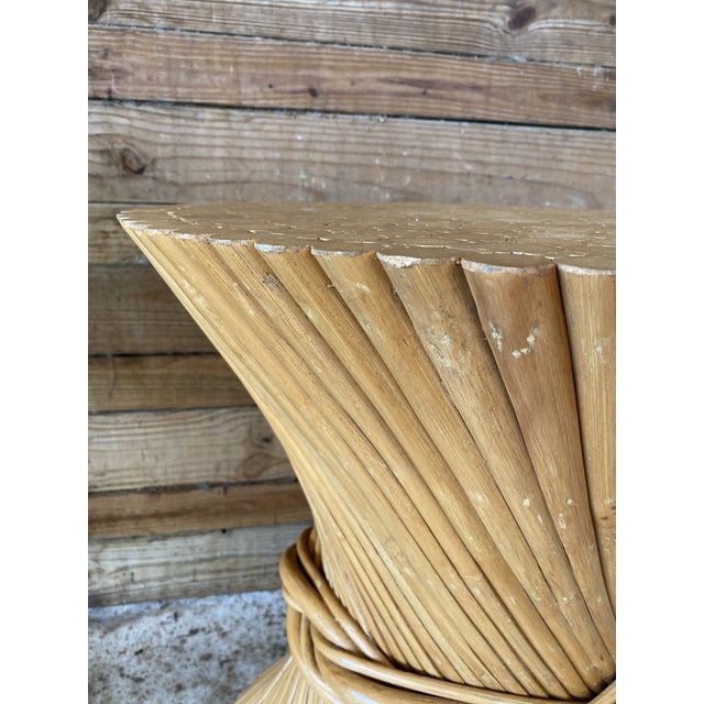 Brown Mid-Century Modern Henry Link Split Rattan Sheaf of Wheat Table Base For Sale - Image 8 of 13