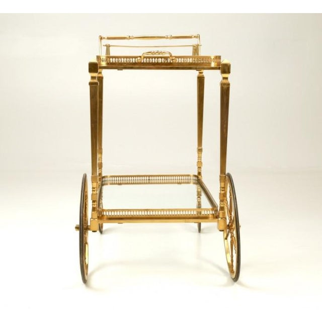 Vintage French Brass Bar Cart With Tray For Sale - Image 9 of 11