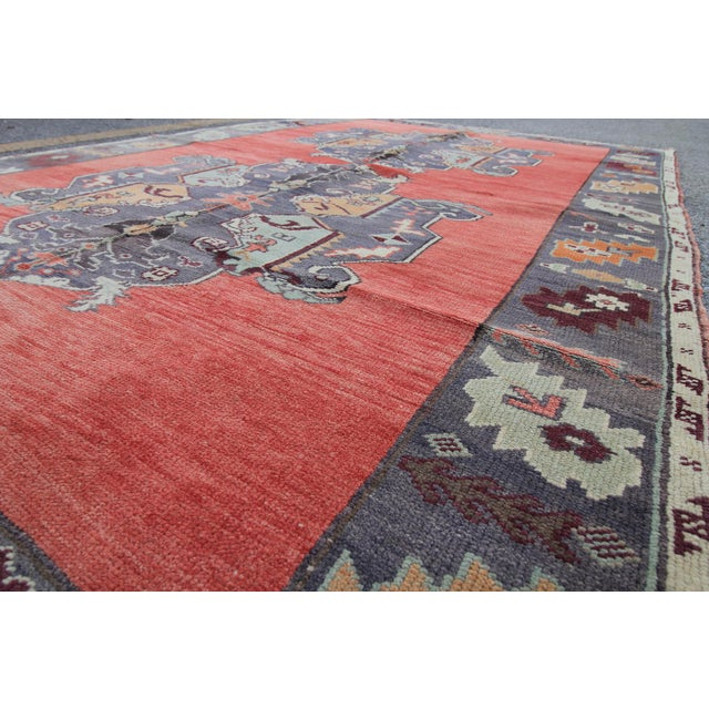Tribal Antique Turkish Oushak Hand Knotted Rug - 5'1 X 8'2 For Sale - Image 5 of 6