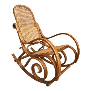 Vintage Thonet Style Bentwwod Cane Rocking Chair