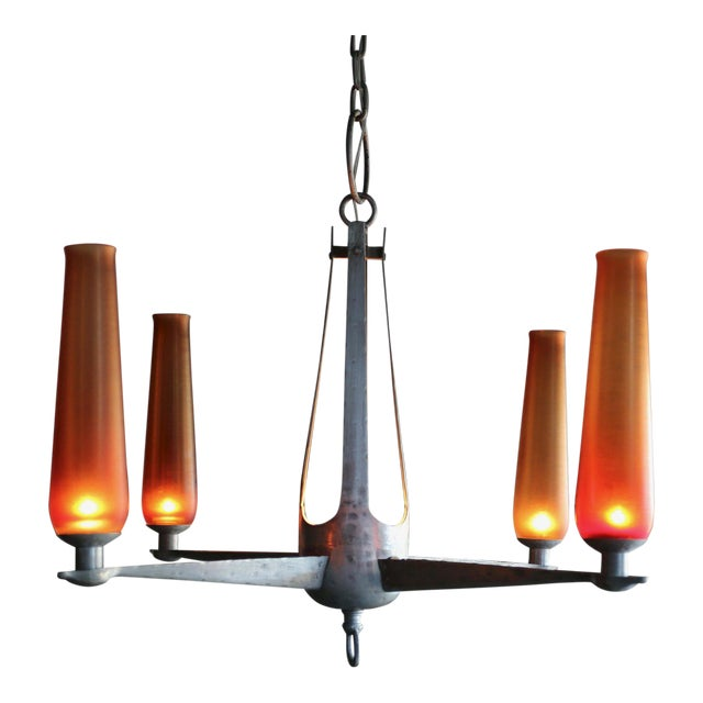 1960s Mid-Century Modern Aluminum and Venini Glass Chandelier For Sale - Image 9 of 9