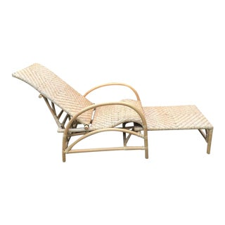 Vintage Rattan Bamboo Adjustable Chaise Lounge Chair For Sale