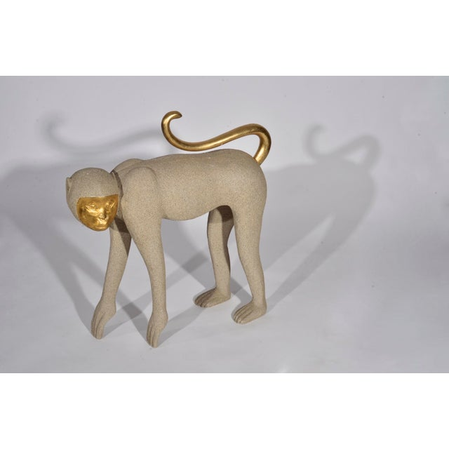 1980s Vintage Modernist Monkey Figurine With Gilt Features For Sale In Detroit - Image 6 of 11
