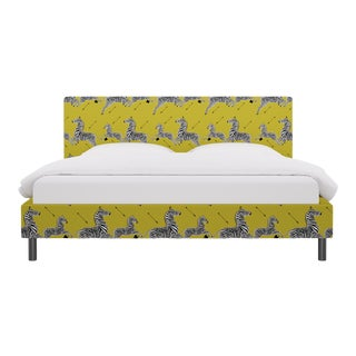 King Tailored Platform Bed in Yellow Zebra By Scalamandre For Sale
