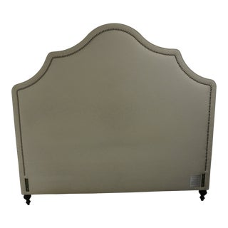 Pondicherry Headboard With Brushed Nickel Nailheads in Cream Cotton/ Linen Fabric For Sale