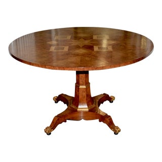 Large 20th Century Walnut Marquetry Inlay Entry / Dining Table For Sale