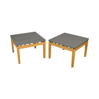Studio Crafted Post Modern Pair Slate Top Square Side Tables For Sale