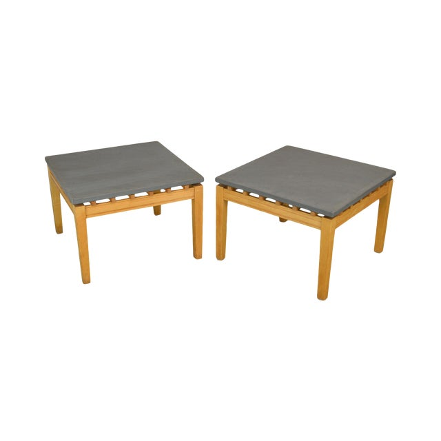 Studio Crafted Post Modern Pair Slate Top Square Side Tables