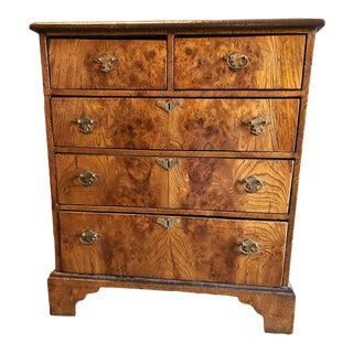 Late 19th Century George II-Style Burl Walnut Chest Of Drawers For Sale