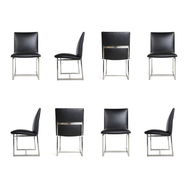 Milo Baughman Dining Chairs Reupholstered in Edelman Leather, Circa 1970 - Set of 8 - Image 1 of 8