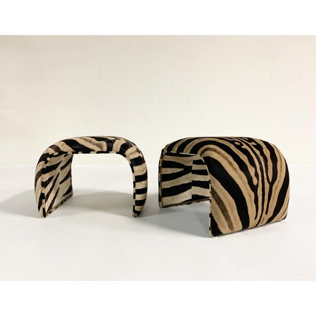 Brown Waterfall Ottomans in Zebra Hide, Pair For Sale - Image 8 of 9