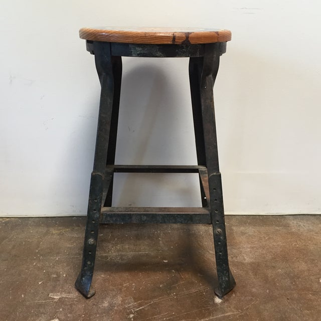 Vintage Industrial Firehouse Stool - Image 3 of 9