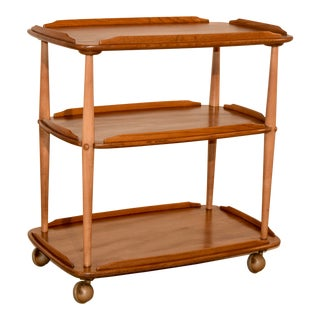 Mid-Century Elm Bar Cart For Sale