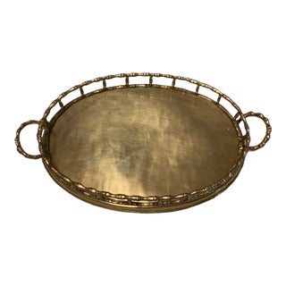 1970s Mottahedeh-Styled Faux Bamboo Brass Tray For Sale