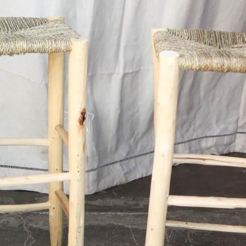 Moroccan Hand-Carved Bar Stools - A Pair - Image 3 of 5