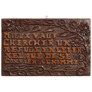 Carved Wood Sign in French For Sale