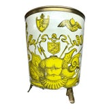 Image of 1950s Piero Fornasetti 'Golden Armory Crest' Metal Waste Paper Bin For Sale