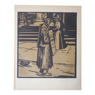 Antique Lithograph-London Types-Sign Man For Sale