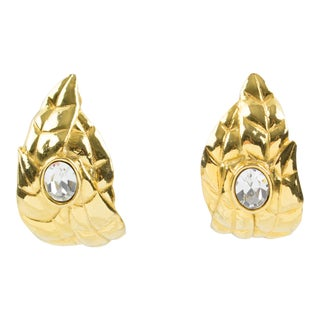 Ines De La Fressange Paris Clip on Earrings Gilt Metal Carved Leaf Rhinestone For Sale