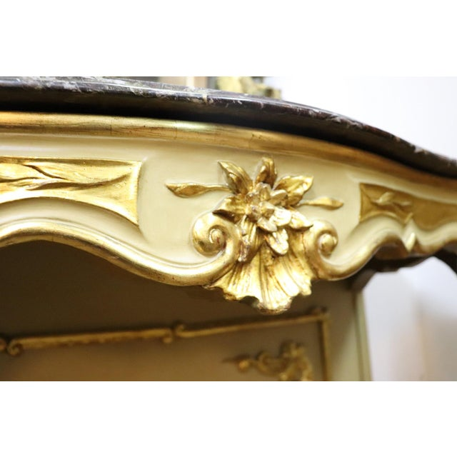 19th Century Italian Golden and Lacquered Wood Console Table With Marble Top For Sale - Image 6 of 11