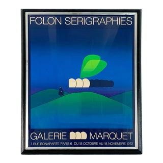 1970s Jean Michel Folon Galerie Marquet Screenprint For Sale