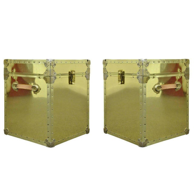 1970s Hollywood Regency Brass Clad Trunks Chest Side Tables - a Pair For Sale - Image 11 of 11