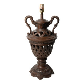 Neoclassical Urn Table Lamp Cast Iron Double Handled Woven Design For Sale