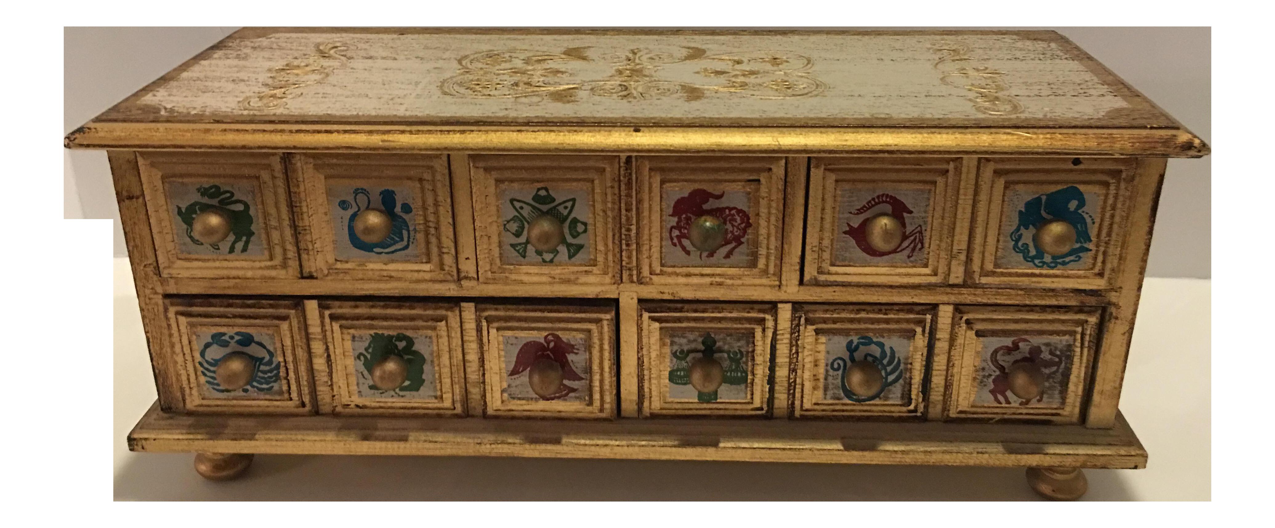 Hollywood Regency Gold Jewelry Storage Box Chairish