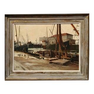 Vintage Florida Harbor Marine Painting For Sale