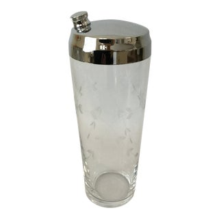 Mid-Century Etched Flower Cocktail Shaker For Sale