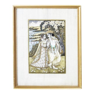 Persian Man and Woman Porcelain Panel Painting For Sale