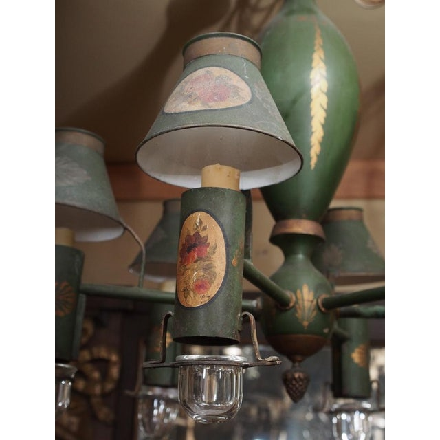 Metal Mid 20th Century Painted French Tole Chandelier For Sale - Image 7 of 7