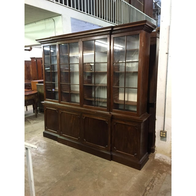 19th C. Vintage English Mahogany Breakfront For Sale - Image 4 of 8