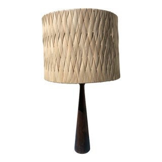 Mid Century Modern Turned Mahogany Lamp With Natural Reed Shade in the Manner of Rude Osolnik For Sale