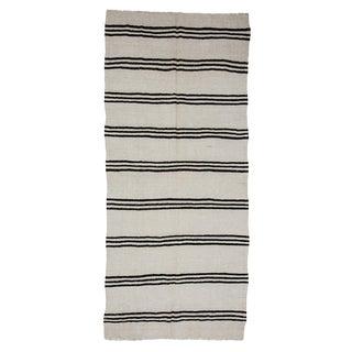 Black & White Striped Hemp Kilim Rug- 4′4″ × 9′10″ For Sale