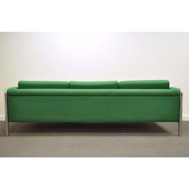 Mid Century Modern Milo Baughman Style Tubular Chrome Frame Green 3 Seat Sofa For Sale In Philadelphia - Image 6 of 10