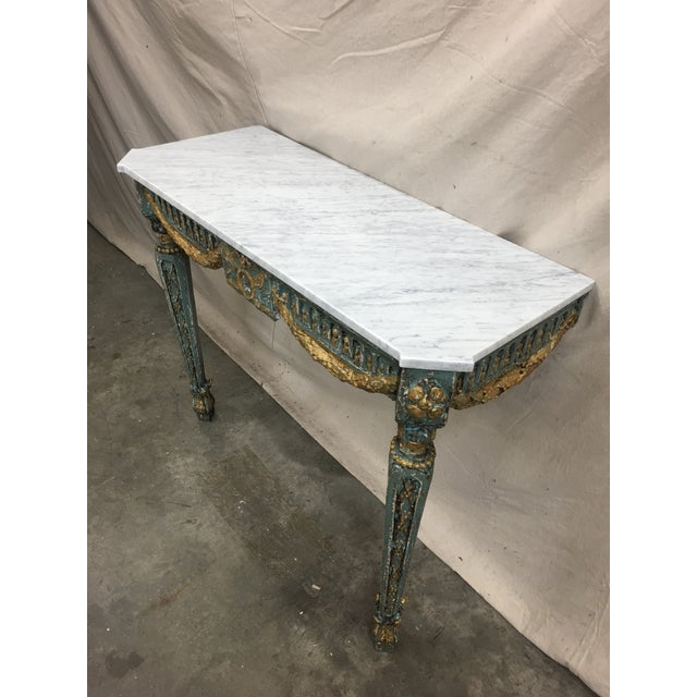 Wood 19th C French Marble Top Painted Console Table For Sale - Image 7 of 10