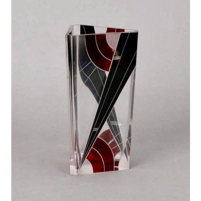 Art Deco Karl Palda Black and Red Glass Triangular Vase For Sale - Image 4 of 5