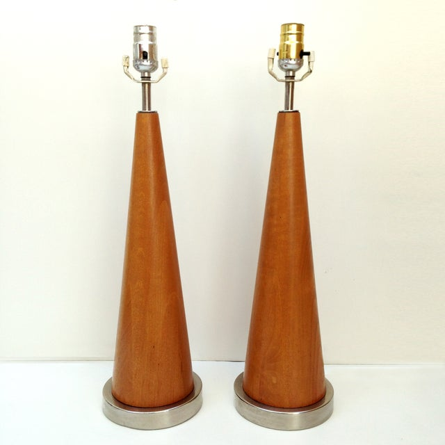 Mid-Century Modern Wood Cone Lamps- A Pair - Image 2 of 3