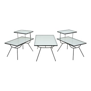 Mid-Century Modern Nelson Style Iron and Glass Tables by Frank and Son - 3 Pieces For Sale