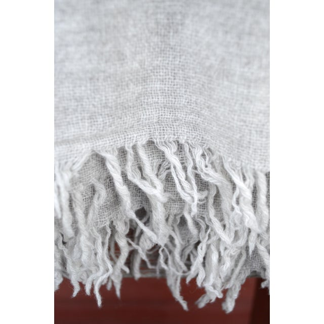 Gray FirmaMenta Italian Ice Gray Gauze Throw For Sale - Image 8 of 11