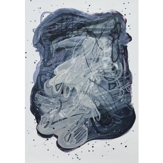 """Dana Oldfather """"Night Puddle 2"""" Abstract Painting on Paper, 2019 For Sale"""