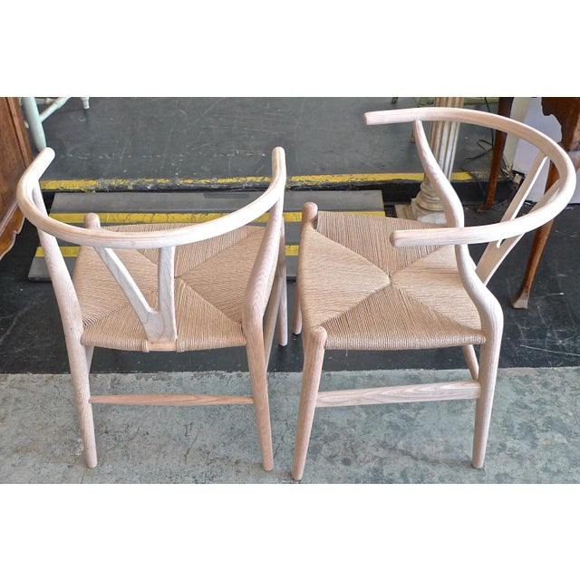 2010s Contemporary Danish 1960s Style Wishbone White Oak Riff Wood Arm Chairs - Set of 6 For Sale - Image 5 of 13