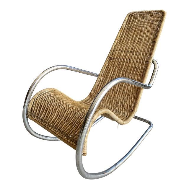 Vintage Woven Chrome & Rattan Italian Rocking Chair For Sale